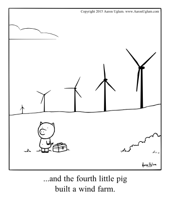 Forth little pig wind farm Panel Cartoon